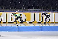 SCHAATSEN: HEERENVEEN: 29-11-2020, IJsstadion Thialf, Daikin NK Sprint, Michelle de Jong en Helga Drost, ©foto Martin de Jong