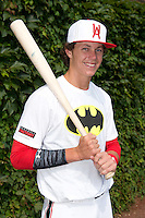 Ryan Mountcastle (5) of Paul J. Hagerty High School in Winter Springs, Florida poses for a photo during practice before the Under Armour All-American Game on August 16, 2014 at Wrigley Field in Chicago, Illinois.  (Mike Janes/Four Seam Images)
