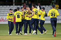 Chris Wood of Hampshire celebrates with his team mates after taking the wicket of Aron Nijjar during Essex Eagles vs Hampshire Hawks, Vitality Blast T20 Cricket at The Cloudfm County Ground on 11th June 2021