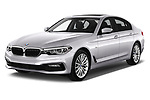 2017 BMW 5-Series Sport 4 Door Sedan Angular Front stock photos of front three quarter view