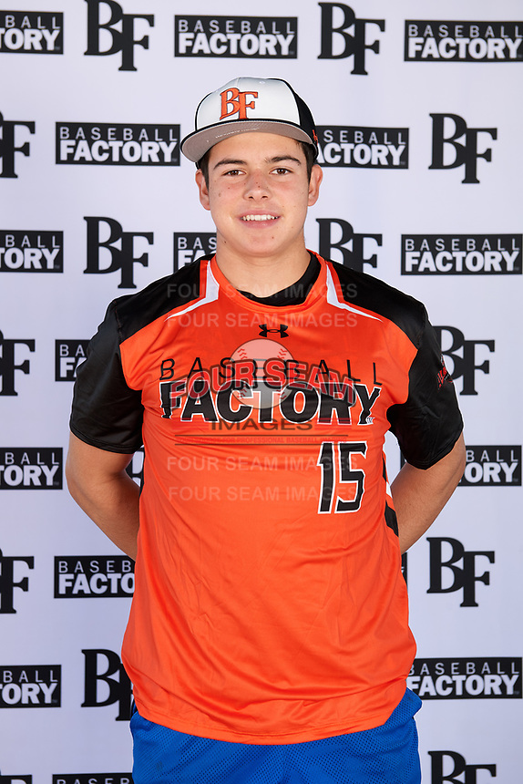 Henry Politz (15) of Jesuit High School in Tampa, Florida during the Baseball Factory All-America Pre-Season Tournament, powered by Under Armour, on January 12, 2018 at Sloan Park Complex in Mesa, Arizona.  (Mike Janes/Four Seam Images)
