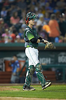 Fort Wayne TinCaps catcher Blake Hunt (12) gives defensive signals to his infield during the game against the West Michigan Whitecaps at Parkview Field on August 5, 2019 in Fort Wayne, Indiana. The TinCaps defeated the Whitecaps 9-3. (Brian Westerholt/Four Seam Images)