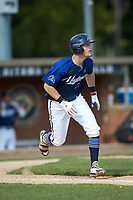 Matt Goodheart (25) (Arkansas) of the Martinsville Mustangs hustles down the first base line against the High Point-Thomasville HiToms at Finch Field on July 26, 2020 in Thomasville, NC.  The HiToms defeated the Mustangs 8-5. (Brian Westerholt/Four Seam Images)