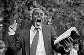 A Christian preacher addresses a crowd at Speakers Corner, Hyde Park, London; 1993
