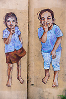 Wall Mural by Erik Lai Showing Young Children, Ipoh, Malaysia.