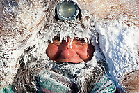 Rookie Michelle Phillips is frosted up at 40 below zero in the early morning at the Kaltag checkpoint during the 2010 Iditarod