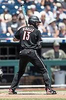 Louisville Cardinals third baseman Alex Binelas (13) at bat during Game 3 of the NCAA College World Series against the Vanderbilt Commodores on June 16, 2019 at TD Ameritrade Park in Omaha, Nebraska. Vanderbilt defeated Louisville 3-1. (Andrew Woolley/Four Seam Images)