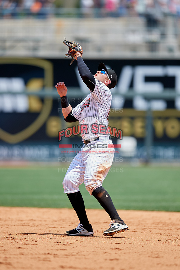 Birmingham Barons second baseman Trey Michalczewski (27) settles under a pop up during a game against the Pensacola Blue Wahoos on May 9, 2018 at Regions FIeld in Birmingham, Alabama.  Birmingham defeated Pensacola 16-3.  (Mike Janes/Four Seam Images)