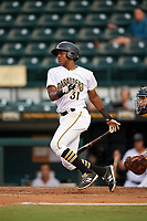 Bradenton Marauders third baseman Ke'Bryan Hayes (31) at bat during the second game of a doubleheader against the Tampa Yankees on June 14, 2017 at LECOM Park in Bradenton, Florida.  Tampa defeated Bradenton 5-1.  (Mike Janes/Four Seam Images)