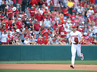 Arkansas reliever Kevin Kopps enters the game Friday, June 4, 2021, with two outs in the fourth inning of the Razorbacks' 13-8 win over New Jersey Institute of Technology in the first game of the NCAA Fayetteville Regional at Baum-Walker Stadium in Fayetteville. Visit nwaonline.com/210605Daily/ for today's photo gallery.<br /> (NWA Democrat-Gazette/Andy Shupe)