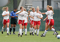 Kelley O'Hara is congratulated teammates after her second goal of the game. Stanford defeated USC 2-0 in second round action of the NCAA tournament at Buck Shaw Stadium, Santa Clara University, Santa Clara, CA on November 12, 2006.