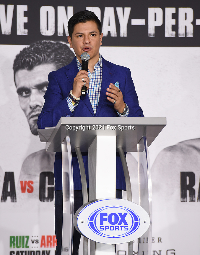 LOS ANGELES, CA - APRIL 29: Ray Flores attends the undercard press conference for the Andy Ruiz Jr. vs Chris Arreola Fox Sports PBC Pay-Per-View in Los Angeles, California on April 29, 2021. The PPV fight is on May 1, 2021 at Dignity Health Sports Park in Carson, CA. (Photo by Frank Micelotta/Fox Sports/PictureGroup)