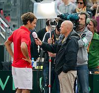 16-09-12, Netherlands, Amsterdam, Tennis, Daviscup Netherlands-Suisse, Roger Federer, being interviewed by Martin Vriesema  for Durch TV NOS