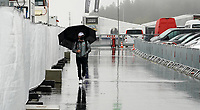 8th October 2020, Nuerburgring, Nuerburg, Germany; FIA Formula 1 Eifel Grand Prix Free Practise is cancelled due to heavy fog and lack of medical security services;  Valtteri Bottas FIN 77, Mercedes-AMG Petronas F1 Team arrives to check the weather