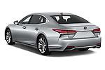 Car pictures of rear three quarter view of a 2018 Lexus LS 500h 4 Door Sedan angular rear