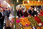 Street market London. Portobello Road.  Saturday traditional fruit market stall. 1990s UK 1999