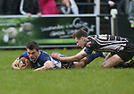 Leinster A replacement Andrew Boyle dives over in the corner to score a late try and force extra time in the match.<br /> British & Irish Cup Semi Final<br /> Pontypridd v Leinster A<br /> Sardis Road - Pontypridd<br /> <br /> ©Steve Pope-SPORTINGWALES