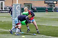 London Scottish hit the pads in then warm up during the Greene King IPA Championship match between Ealing Trailfinders and London Scottish Football Club at Castle Bar , West Ealing , England  on 19 January 2019. Photo by Carlton Myrie/PRiME Media Images