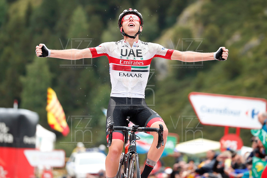 ESPAÑA, 01-09-2019: Tadej Pogacar (SLO - UAE Team Emirates) celebra después de ganar la etapa 9, hoy, 01 de septiembre de 2019, que se corrió entre Andorra la Vella y Cortals d'Encamp con una distancia de 94,4 km como parte de La Vuelta a España 2019 que se disputa entre el 24/08 y el 15/09/2019 en territorio español. / Tadej Pogacar (SLO - UAE Team Emirates) celebrates after winning stage 9 today, September 01, 2019, from Andorra la Vella to Cortals d'Encamp with a distance of 94,4 km as part of Tour of Spain 2019 which takes place between 08/24 and 09/15/2019 in Spain.  Photo: VizzorImage / Luis Angel Gomez / ASO<br /> VizzorImage PROVIDES THE ACCESS TO THIS PHOTOGRAPH ONLY AS A PRESS AND EDITORIAL SERVICE AND NOT IS THE OWNER OF COPYRIGHT; ANOTHER USE HAVE ADDITIONAL PERMITS AND IS  REPONSABILITY OF THE END USER