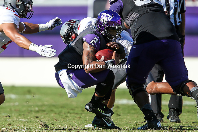 TCU Horned Frogs quarterback Trevone Boykin (2) in action during the game between the Texas Tech Red Raiders and the TCU Horned Frogs at the Amon G. Carter Stadium in Fort Worth, Texas. TCU defeats Texas Tech 82 to 27.