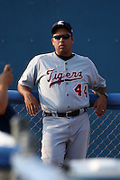 Connecticut Tigers pitching coach Jorge Cordova before a game vs. the Batavia Muckdogs at Dwyer Stadium in Batavia, New York July 8, 2010.   Connecticut defeated Batavia 4-2 in extra innings.  Photo By Mike Janes/Four Seam Images
