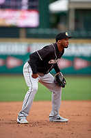 Charlotte Knights third baseman Alcides Escobar (2) during an International League game against the Rochester Red Wings on June 16, 2019 at Frontier Field in Rochester, New York.  Rochester defeated Charlotte 11-5 in the first game of a doubleheader that was a continuation of a game postponed the day prior due to inclement weather.  (Mike Janes/Four Seam Images)