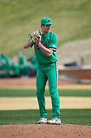 Notre Dame Fighting Irish relief pitcher Joe Boyle (46) looks to his catcher for the sign against the Wake Forest Demon Deacons at David F. Couch Ballpark on March 10, 2019 in  Winston-Salem, North Carolina. The Demon Deacons defeated the Fighting Irish 7-4 in game one of a double-header.  (Brian Westerholt/Four Seam Images)