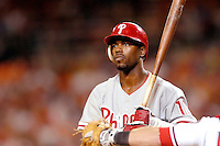 3 September 2005: Jimmy Rollins, shortstop with the Philadelphia Phillies, at bat during a game against the Washington Nationals. The Nationals defeated the Phillies 5-4 at RFK Stadium in Washington, DC. <br />