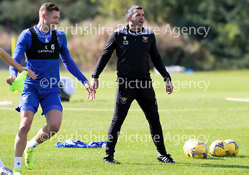 St Johnstone Training….McDiarmid Park, Perth.<br />Manager Callum Davidson pictured during training ahead of Saturday's game at Motherwell with Liam Gordon<br />Picture by Graeme Hart.<br />Copyright Perthshire Picture Agency<br />Tel: 01738 623350  Mobile: 07990 594431