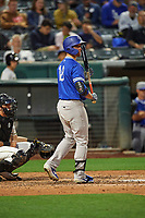 Jon Kemmer (18) of the Oklahoma City Dodgers at bat against the Salt Lake Bees at Smith's Ballpark on July 31, 2019 in Salt Lake City, Utah. The Dodgers defeated the Bees 5-3. (Stephen Smith/Four Seam Images)