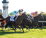 Moonwalk (inside) and Corey Lanerie win a photo finish in the JPMorgan Chase Jessamine over Kitten's Point (outside) and John Velazquez at Keeneland Racecourse.October 11, 2012.