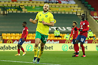 6th April 2021; Carrow Road, Norwich, Norfolk, England, English Football League Championship Football, Norwich versus Huddersfield Town; Teemu Pukki of Norwich City celebrates as he scores his hat-trick from the penalty spot for 6-0 in the 61st minute