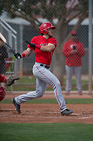 Los Angeles Angels right fielder Brandon Marsh (6) during a Minor League Spring Training game against the Cincinnati Reds at the Cincinnati Reds Training Complex on March 15, 2018 in Goodyear, Arizona. (Zachary Lucy/Four Seam Images)