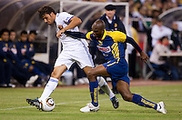Pedro Leon (left) controls the ball against Mosqera Aquivaldo (right). Real Madrid defeated Club America 3-2 at Candlestick Park in San Francisco, California on August 4th, 2010.
