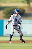David Dahl (21) of the Asheville Tourists takes his lead off of second base against the Kannapolis Intimidators at CMC-NorthEast Stadium on July 12, 2014 in Kannapolis, North Carolina.  The Tourists defeated the Intimidators 7-5 in 15 innings.  (Brian Westerholt/Four Seam Images)