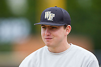 Luke Czajkowski (26) of the Wake Forest Demon Deacons during the game against the Florida State Seminoles at Wake Forest Baseball Park on April 19, 2014 in Winston-Salem, North Carolina.  The Seminoles defeated the Demon Deacons 4-3 in 13 innings.  (Brian Westerholt/Four Seam Images)