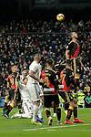 (L to R) Real Madrid's Marco Asensio, Sergio Ramos, Karim Benzema, Raphael Varane and Rayo Vallecano's Emiliano Velazquez, Alvaro Medran, Santi Comesana, Alejandro Galvez during La Liga match. December,15,2018. (ALTERPHOTOS/Alconada)