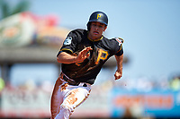 Pittsburgh Pirates Max Moroff (62) runs the bases during a Spring Training game against the Tampa Bay Rays on March 10, 2017 at LECOM Park in Bradenton, Florida.  Pittsburgh defeated New York 4-1.  (Mike Janes/Four Seam Images)