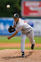 Starting pitcher Luis Cruz (23) of the Greeneville Astros in action at Bowen Field in Bluefield, WV, Sunday July 6, 2008. (Photo by Brian Westerholt / Four Seam Images)