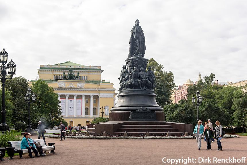 Katharinen-Statue auf dem Ostrowskij-Platz, St. Petersburg, Russland, UNESCO-Weltkulturerbe