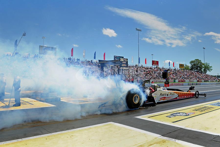 Jun. 2, 2012; Englishtown, NJ, USA: NHRA top fuel dragster driver Clay Millican during qualifying for the Supernationals at Raceway Park. Mandatory Credit: Mark J. Rebilas-
