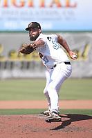 Dakota Donovan (33) of the Inland Empire 66ers pitches against the Fresno Grizzlies at San Manuel Stadium on May 25, 2021 in San Bernardino, California. (Larry Goren/Four Seam Images)