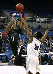 Cheyenne's Ke'shawn Hall shoots over Desert Pines defender Malacki McLaurin during the NIAA 3A state basketball championship game in Reno, Nev., on Saturday, Feb. 24, 2018. Desert Pines won 48-44 in overtime. Cathleen Allison/Las Vegas Review-Journal