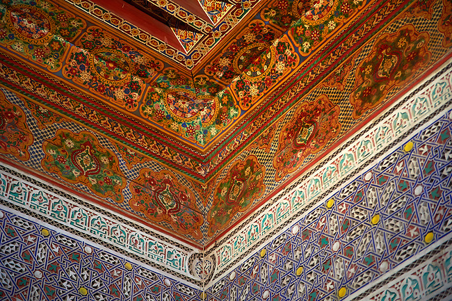 Berber arabesque interior wood ceiling panels of  the Petite Court, Bahia Palace, Marrakesh, Morroco
