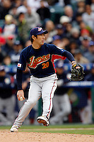 Yasuhiko Yabuta of Japan during World Baseball Championship at Angel Stadium in Anaheim,California on March 12, 2006. Photo by Larry Goren/Four Seam Images