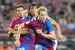 FC Barcelona's Eric Garcia (l) and Frenkie De Jong (r) and Real Sociedad's Robin Le Normand during La Liga match. August 15, 2021. (ALTERPHOTOS/Acero)