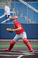 Catcher Drew Romo (8) during the Under Armour All-America Game Practice, powered by Baseball Factory, on July 21, 2019 at Les Miller Field in Chicago, Illinois.  Drew Romo attends The Woodlands High School in The Woodlands, Texas and is committed to LSU.  (Mike Janes/Four Seam Images)