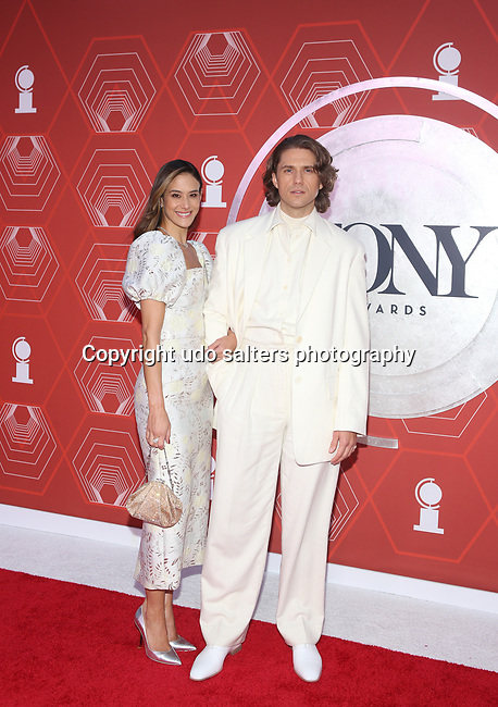 Ericka Hunter and Aaron Tveit  attend the 74th Tony Awards-Broadway's Back! arrivals at the Winter Garden Theatre in New York, NY, on September 26, 2021.