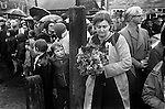 Barwick in Elmet, Mother of the Queen, holds the Queens Poses of flowers that will be put on the war memorial.   My ref 3/416/1972