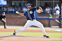 Asheville Tourists starting pitcher Jesus Tinoco (36) delivers a pitch during a game against the Augusta GreenJackets at McCormick Field on August 6, 2016 in Asheville, North Carolina. The GreenJackets defeated the Tourists 11-4. (Tony Farlow/Four Seam Images)